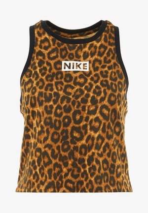 DRY TANK LEOPARD CROP - Sports shirt - club gold/british tan/black/white