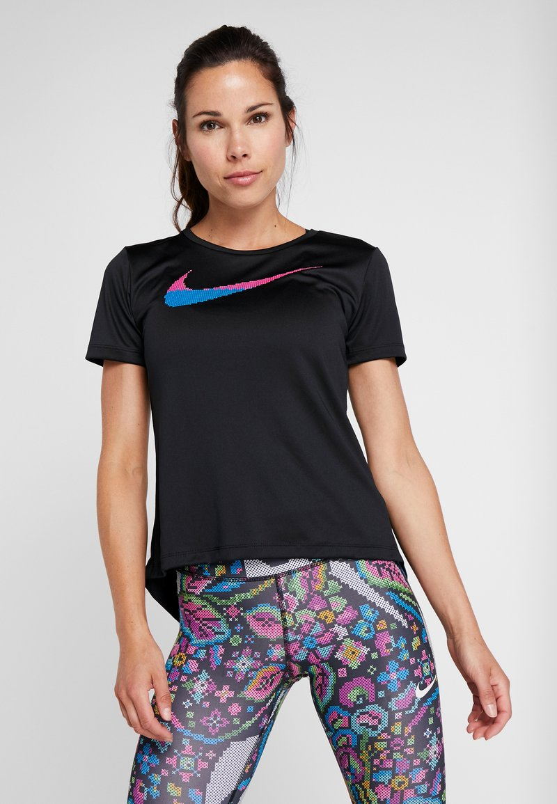 Nike Performance - TOP FEMME - Camiseta estampada - black/hyper pink