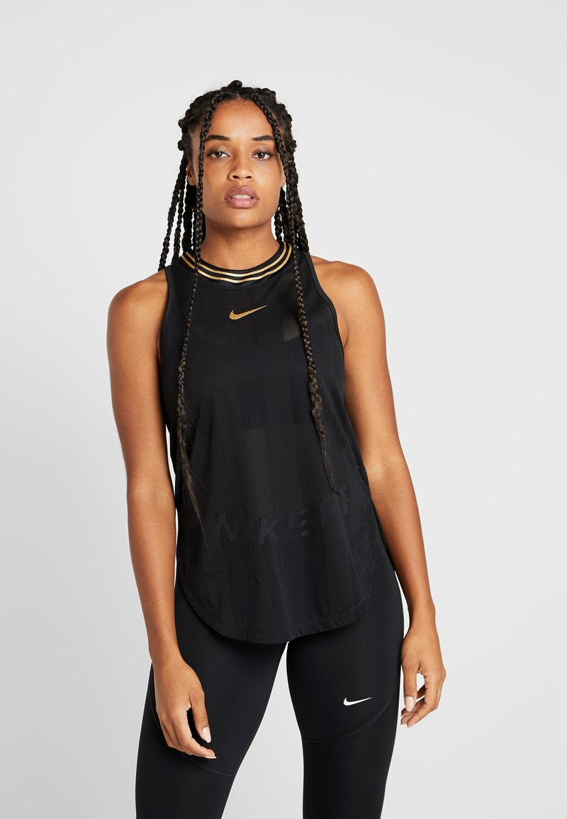 Nike Performance - TANK GLAM - T-shirt de sport - black/metallic gold