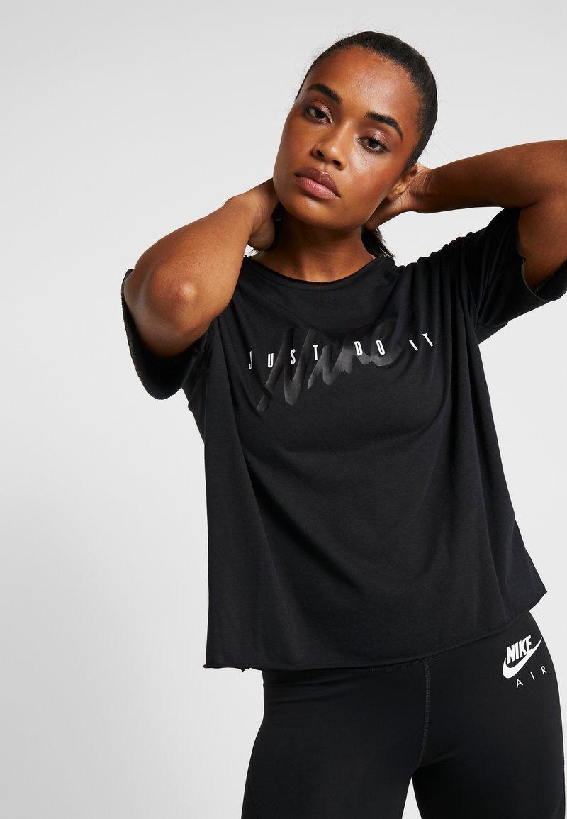 Nike Performance - DRY - T-shirt z nadrukiem - black/white