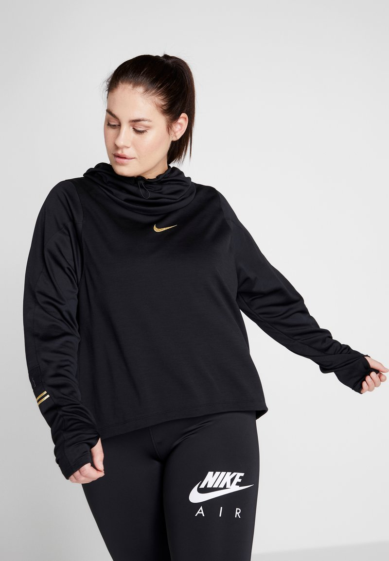 Nike Performance - GLAM MID PLUS - Funkční triko - black/metallic gold
