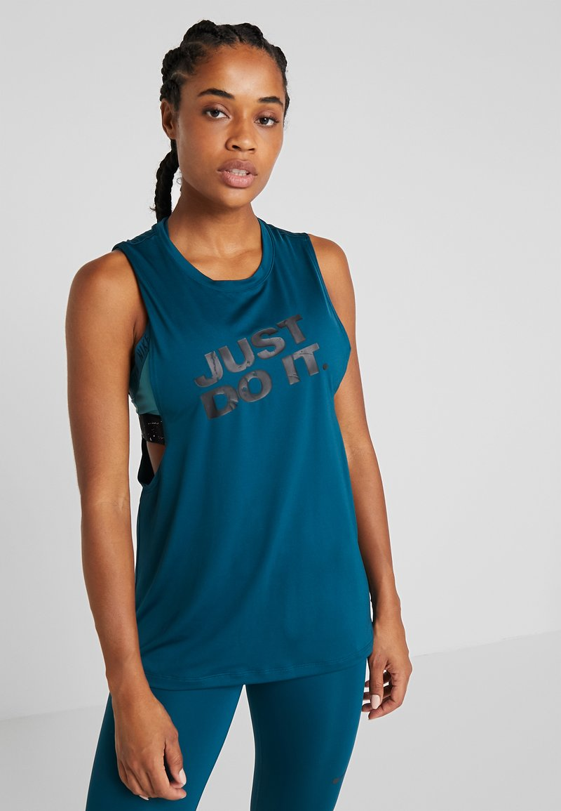 Nike Performance - MARBLE LOOSE TANK - Sports shirt - midnight turq/black