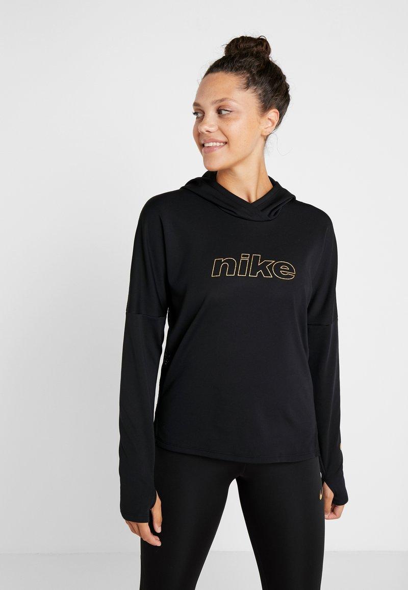 Nike Performance - MIDLAYER GLAM  - Hoodie - black/metallic gold