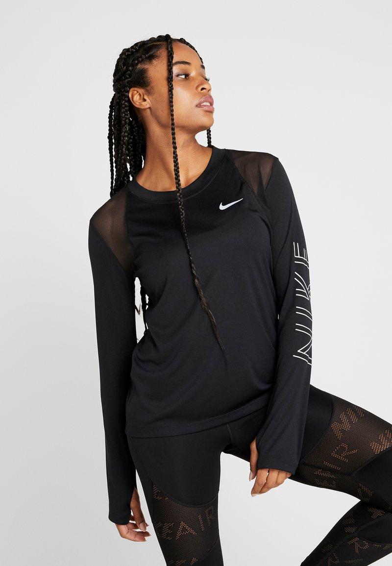 Nike Performance - DRY MILER  - Sports shirt - black/metallic silver