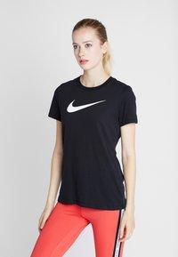 Nike Performance - DRY TEE CREW - Print T-shirt - black/white - 0