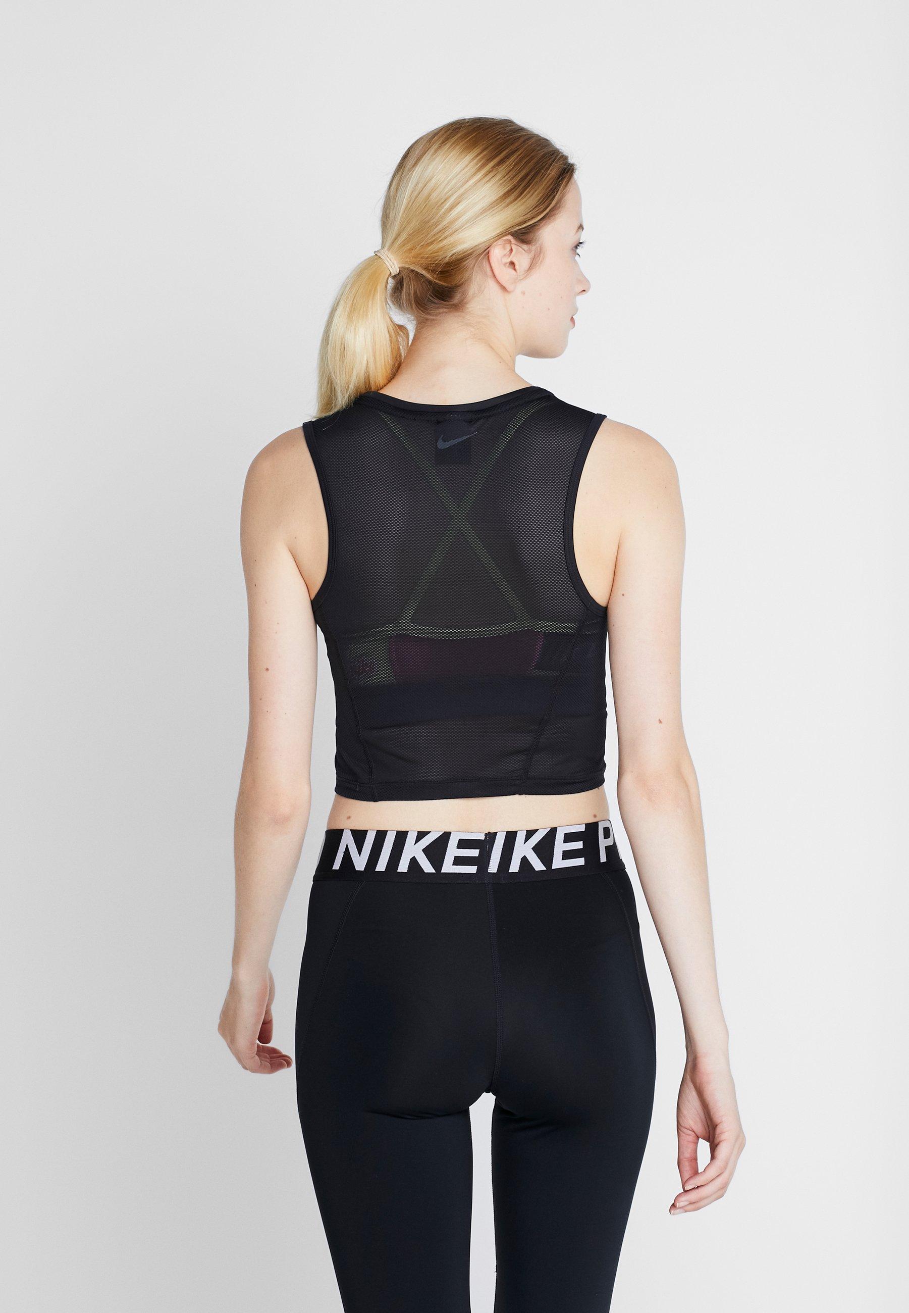 Nike Performance CROP TANK - Treningsskjorter - black/dark smoke grey