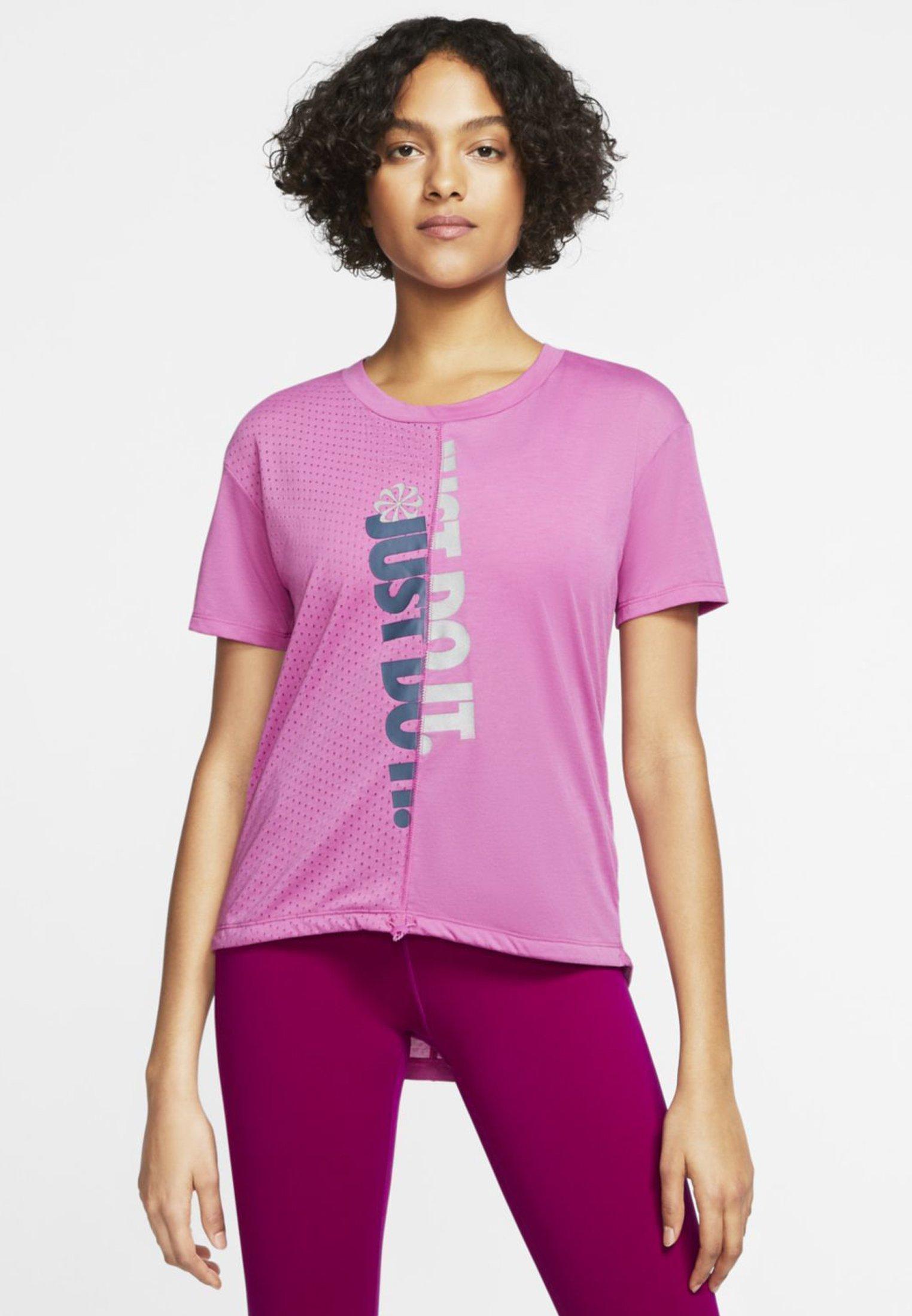 Nike Performance W NK ICNCLSH TOP SS - T-shirt z nadrukiem - cosmic fuchsia/valerian blue