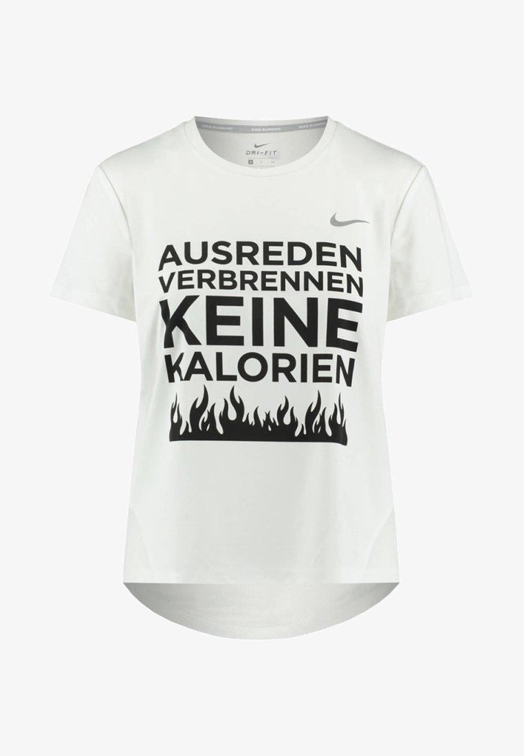 Nike Performance - AUSREDEN VERBRENNEN KEINE K - T-Shirt print - white