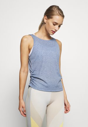 YOGA RUCHE TANK - Sports shirt - diffused blue/obsidian mist