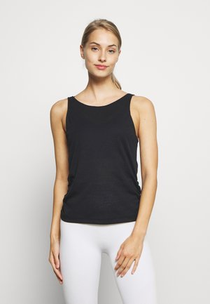 YOGA RUCHE TANK - Sports shirt - black
