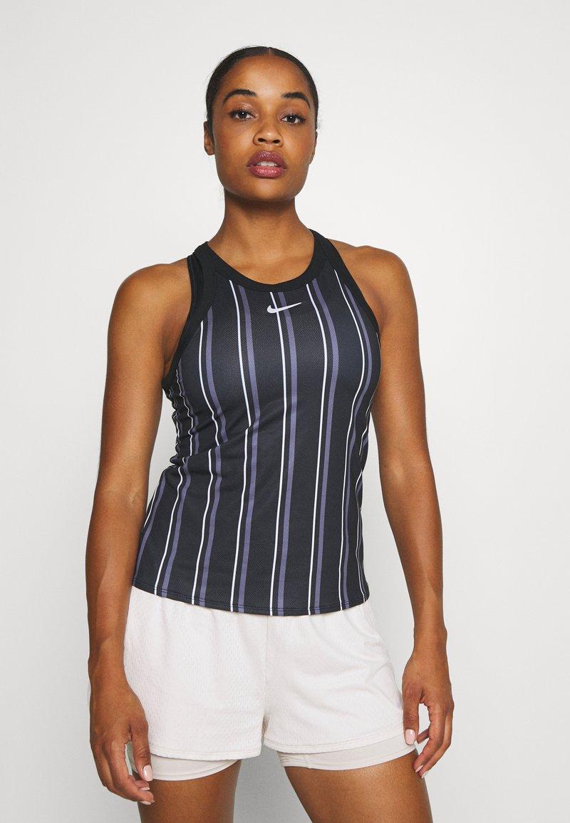 Nike Performance - DRY TANK PRINTED - Sports shirt - black/white