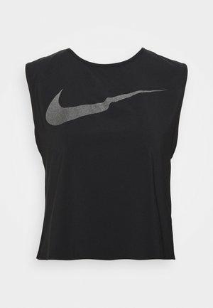RUN TANK PLEATED - Camiseta de deporte - black/reflective black