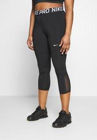 Nike Performance - CROP PLUS - Tights - black/white - 0