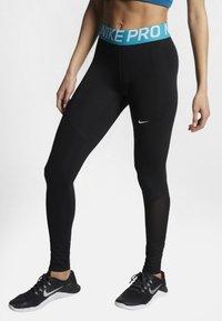 Nike Performance - W NP TIGHT - Leggings - black/turquoise/white - 0