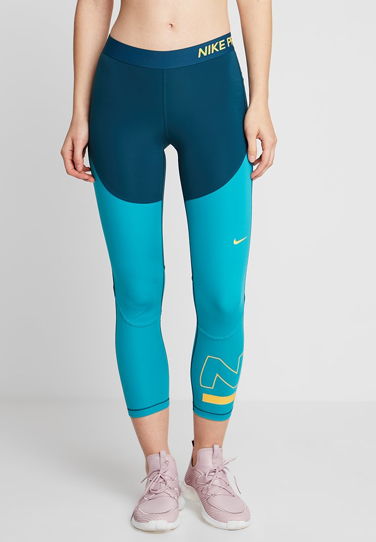 Nike Performance - CROP - Legging - nightshade/spirit teal/laser orange
