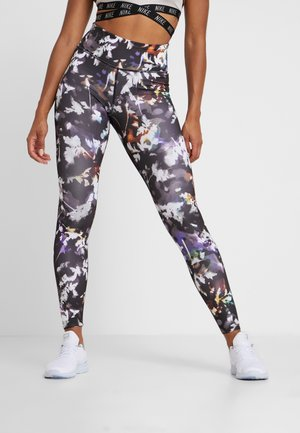 NIKE ONE PRINT  - Tights - black/gunsmoke