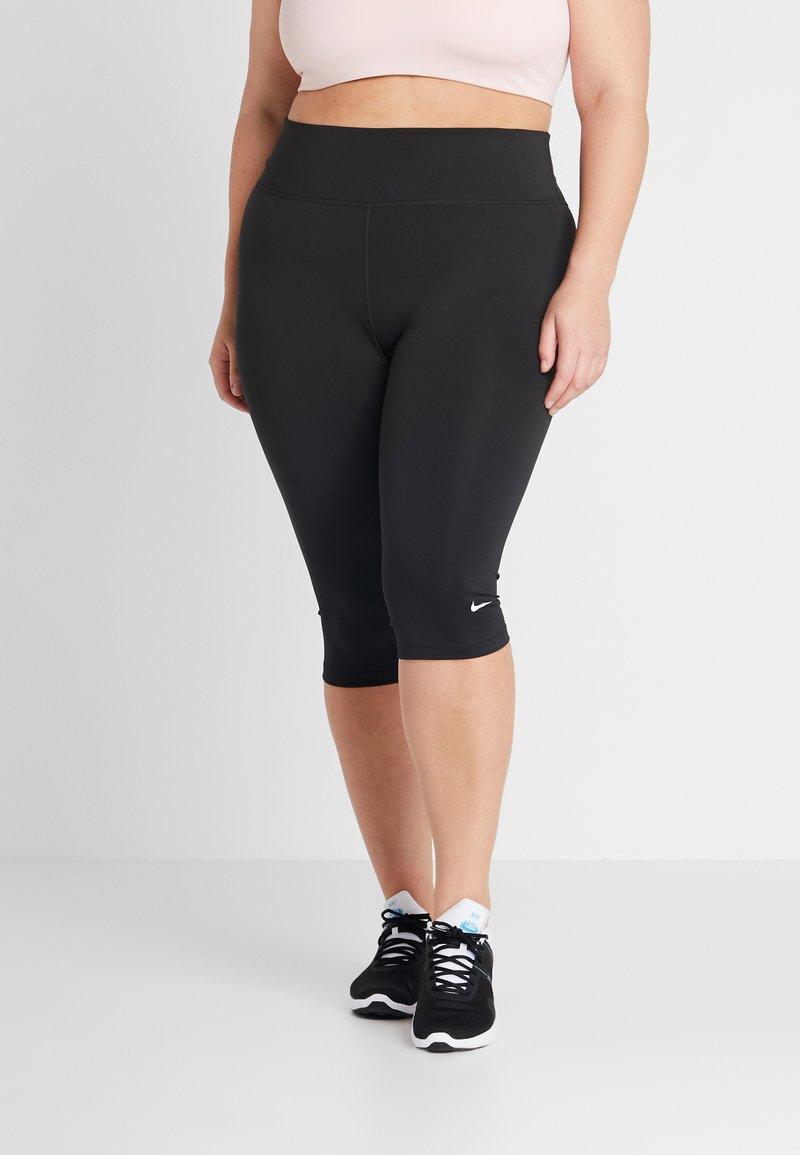 Nike Performance - NIKE ONE TIGHT CPRI PLUS - 3/4 sports trousers - black/white