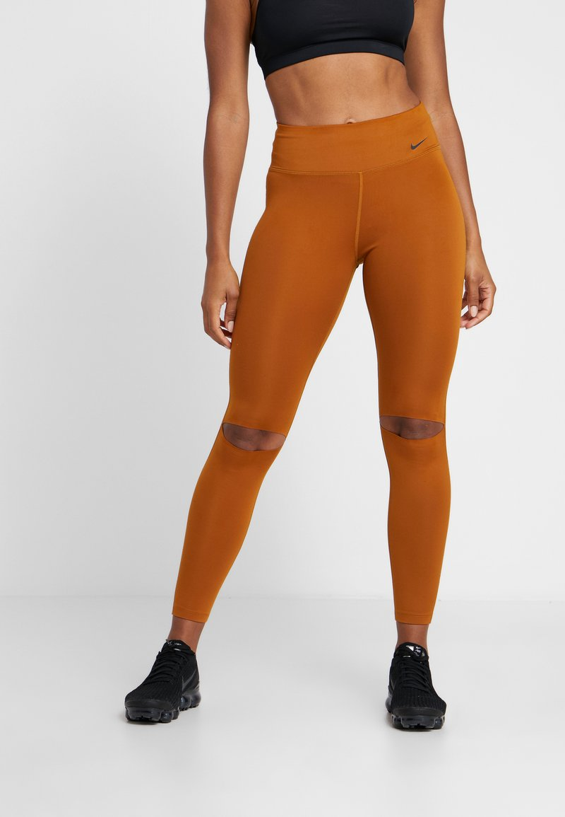 Nike Performance - REBEL ONE - Leggings - burnt sienna/black