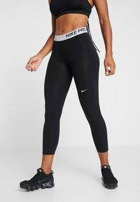 Nike Performance - MARBLE CROP - Collant - black/white - 0