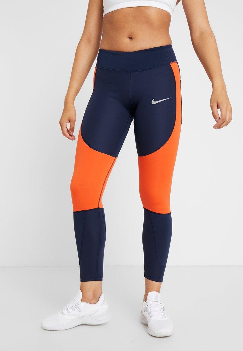 Nike Performance - EPIC LUX - Legginsy - obsidian/team orange/silver