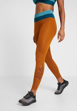 Tights - burnt sienna/mineral teal/black