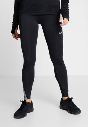 FAST RUNWAY - Leggings - black/silver