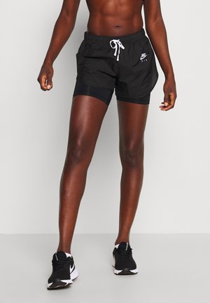 2IN1 SHORT - kurze Sporthose - black/white/reflective silver