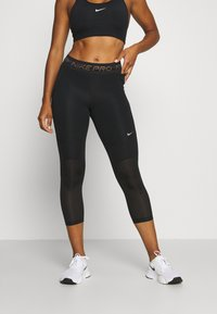 Nike Performance - CROP - Leggings - black/metallic silver - 0