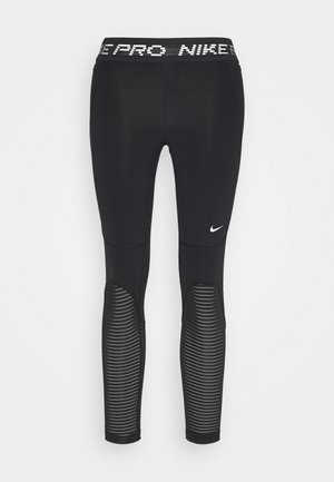 CROP - Leggings - black/metallic silver