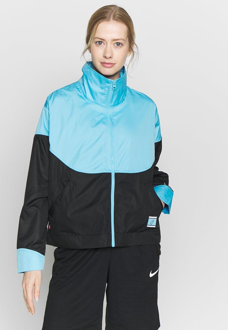 Nike Performance - NBA MIAMI HEAT CITY EDITION WOMENS SNAP JACKET - Verryttelytakki - blue gale /black /laser fuchsia