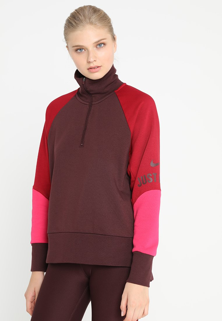 Nike Performance - HALF ZIP COLORBLOCK TRAINING - Sweatshirt - burgundy crush/red crush/rush pink