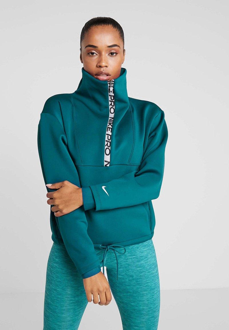 Nike Performance - CROPPED MOCK NECK - Sweater - midnight turq/metallic silver