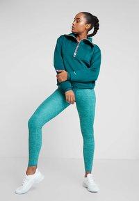 Nike Performance - CROPPED MOCK NECK - Sweater - midnight turq/metallic silver - 1
