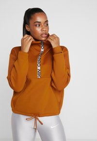 Nike Performance - CROPPED MOCK NECK - Collegepaita - burnt sienna/metallic silver - 0