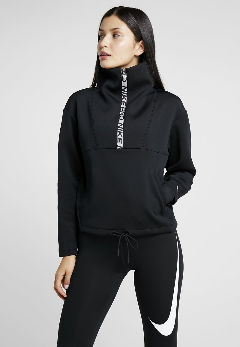 Nike Performance - CROPPED MOCK NECK - Sweater - black/metallic silver