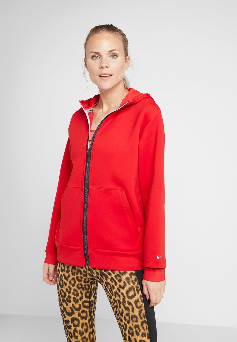 Nike Performance - HOODY - Zip-up hoodie - university red/metallic silver