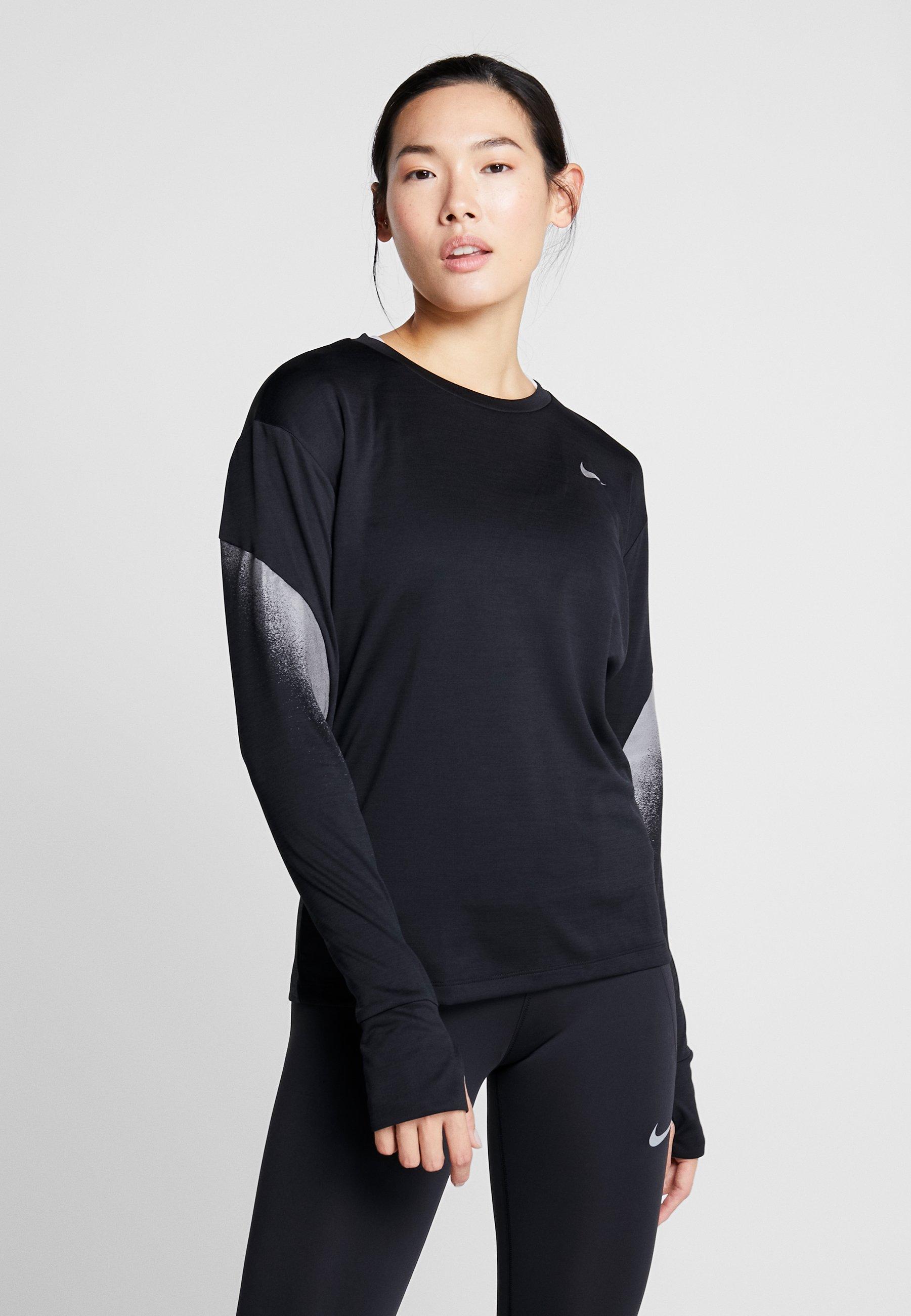 Nike Performance MIDLAYER RUNWAY - Treningsskjorter - black/silver