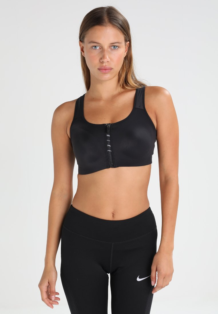 Nike Performance - ZIP - Sport BH - black/volt/white/white