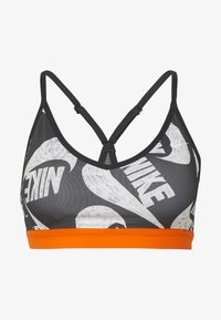 Nike Performance - MARKER PRT - Sports bra - black/safety orange