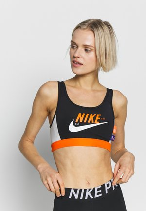 MED PAD BRA - Sujetador deportivo - black/safety orange/vast grey/white