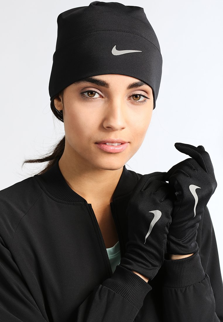 Nike Performance - WOMENS RUN DRY HAT AND GLOVE SET - Gants - black/black/silver