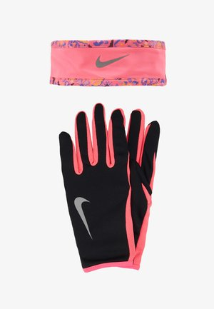 WOMENS RUN DRY HEADBAND AND GLOVE SET - Nauszniki - black/hyper pink/silver