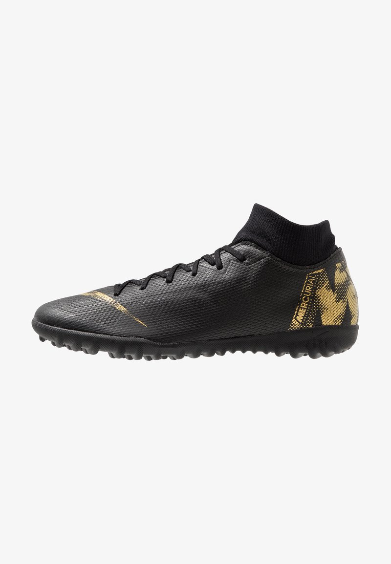 Nike Performance - MERCURIAL SUPERFLYX 6 ACADEMY TF - Astro turf trainers - black/metallic vivid gold