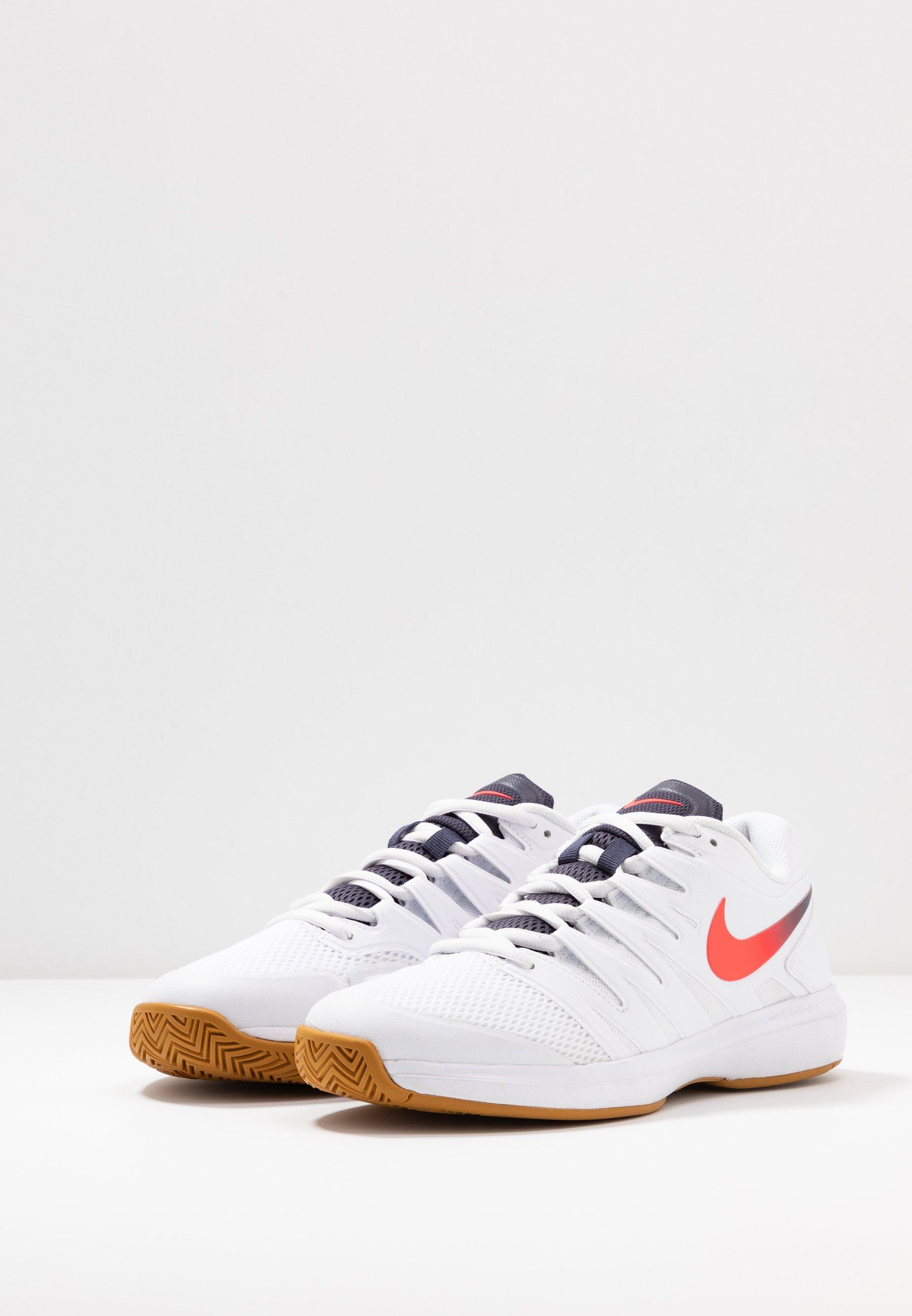 Nike Performance AIR ZOOM PRESTIGE - All court tennisskor - white/laser crimson/gridiron/wheat