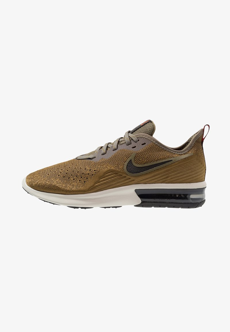 Nike Performance - AIR MAX SEQUENT 4 - Neutral running shoes - med olive/black/olive flak/team orange/light bone