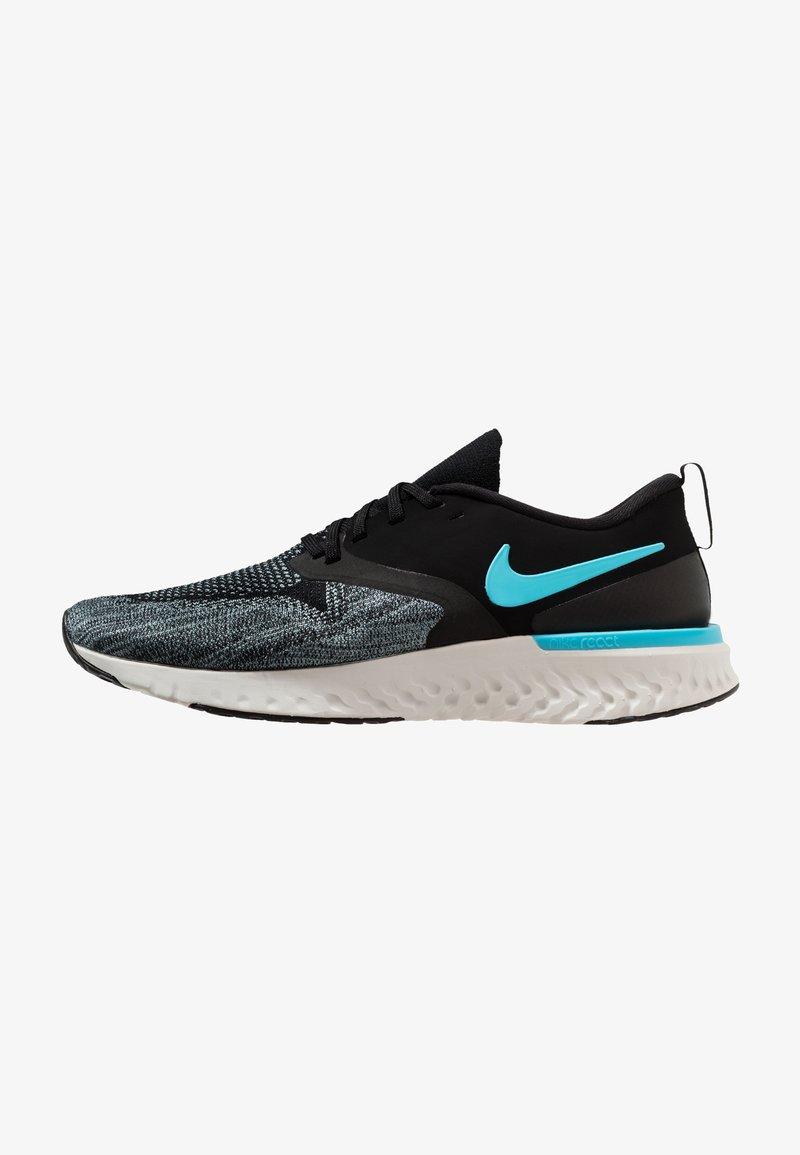 Nike Performance - ODYSSEY REACT FLYKNIT - Laufschuh Neutral - black/blue fury/aviator grey/platinum tint/yellow