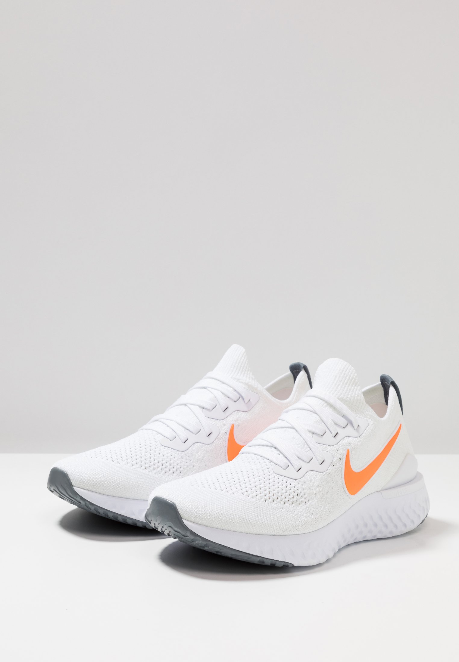 Nike Performance Epic React Flyknit 2 - Chaussures De Running Neutres White/total Orange/cool Grey