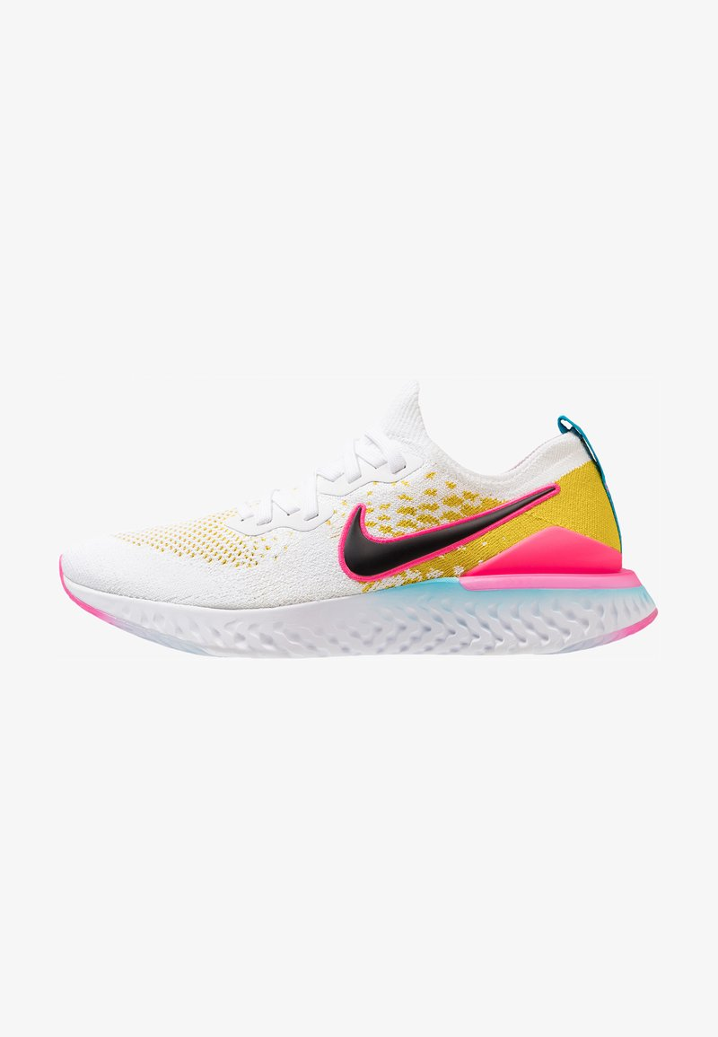 Nike Performance - EPIC REACT FLYKNIT 2 - Obuwie do biegania treningowe - white/black/pink blast/bright citron/lagoon