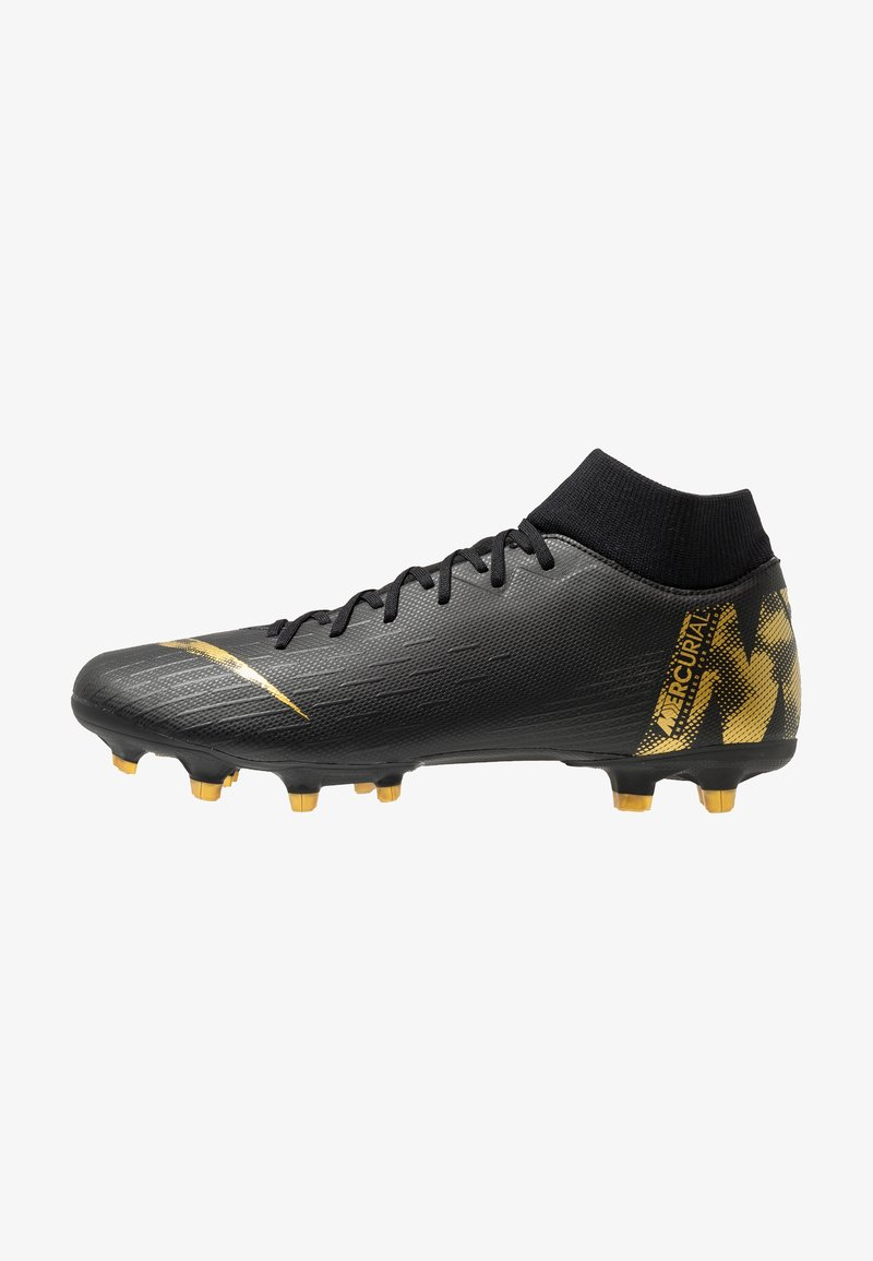 Nike Performance - MERCURIAL 6 ACADEMY FG/MG - Moulded stud football boots - black/metallic vivid gold