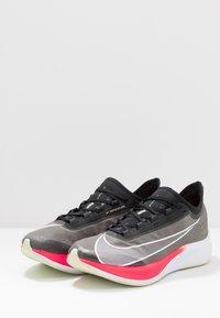 Nike Performance - ZOOM FLY 3 - Neutral running shoes - black/white/laser crimson/olive aura - 2